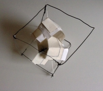 Grappling Wire cubes. Mixed media on water colour paper, wire. H20XW20XD20cm