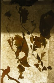 Wallpaper cuts on Japanese paper, suspended against the light. L90XW60cm
